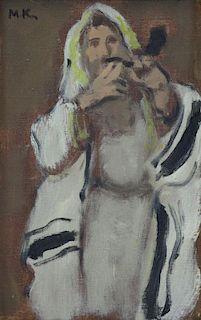 KATZ, Mane. Oil on Canvas. Rabbi Blowing a Shofar.