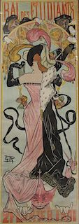 "French Lithograph Poster ""Bal des Etudiants"" 1901."