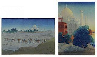 BARTLETT, Charles. Two (2) Taj Mahal Woodblock