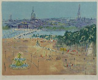 """DUFY, Jean. Lithograph. """"Place de la Concorde"""""""