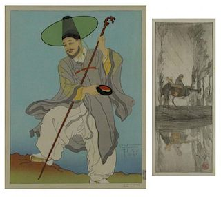Two Woodblock Prints: Paul Jacoulet & Helen Hyde.