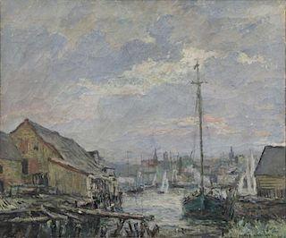 WORTMAN, Denys. Oil on Canvas. Harbor Scene, 1915.