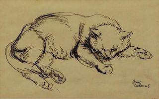 """CADMUS, Paul. Ink on Vellum. """"Cat"""" 1927"""