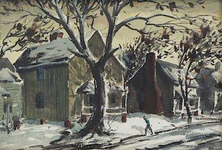 GASSER, Henry Martin. Watercolor. Winter Scene