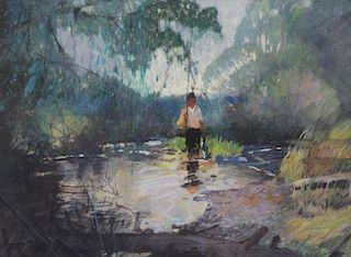 MASON, Roy. Watercolor. Fisherman in River.