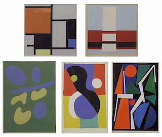 Set of 5 Modern Screenprints: Mondrian, Kupka,