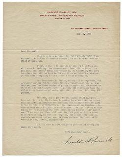 """Typed Letter Signed, """"Franklin D. Roosevelt,"""" Addressing Harvard Classmates of 1904."""