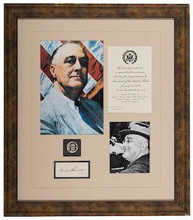 Framed FDR Autograph Display.