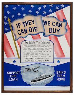 """Original World War II """"Buy War Bonds"""" Poster Artwork."""