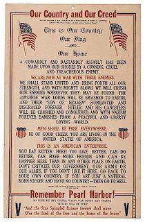 """1941 """"Remember Pearl Harbor"""" Poster."""