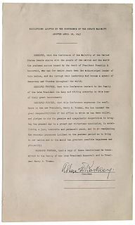 Original Photostat of Resolution Adopted by the Conference of the Senate Majority.