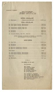 """FDR Funeral Train: Original Three Page """"Corrected Itinerary"""" of the """"Trip of the President – Washington, D.C. to Hyde"""