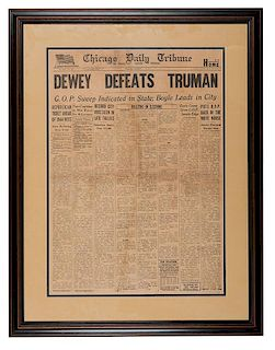 Dewey Defeats Truman. Chicago Daily Tribune Full Front Page.