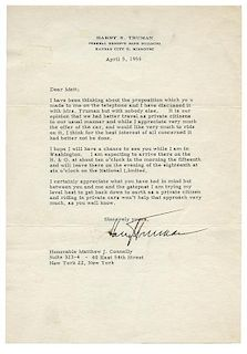 Typed Letter Signed to Matthew Connelly.