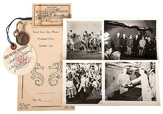 Group of photos and ephemera associated with President Truman's cruise to Brazil.