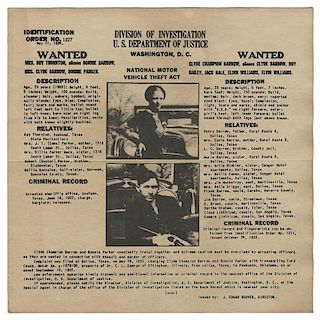 FBI Wanted Poster for Bonnie & Clyde.