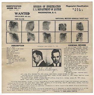 John Dillinger FBI Wanted Broadside.