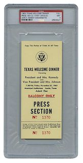 [Kennedy Assassination] Texas Welcome Dinner Ticket Honoring President and Mrs. Kennedy.