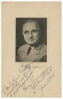 Harry Truman Inauguration Card, Signed As Vice President-Elect.