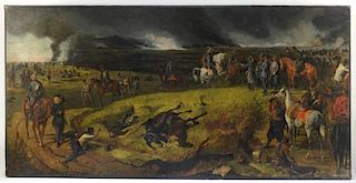 19C. French Battle Scene Military Painting