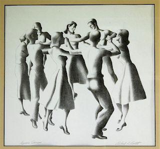 Richard F. Bartlett Square Dancers Pencil Drawing