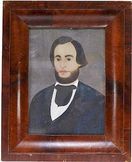 American Folk Art Prior School Portrait Painting