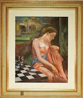 Ireneo Janni O/C Symbolist Portrait Painting
