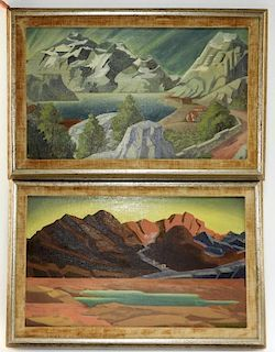 PR American Semi-Abstract O/C Landscape Paintings