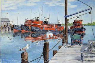 Allan Halladay Mohegan Bay Maine Tugboats Painting