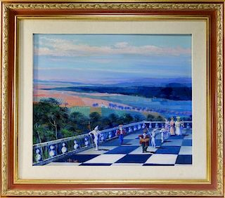 Giancarlo Pucilli Surreal Harlequin Court Painting
