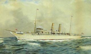 William R. Clark Wood WC German Steamship Painting