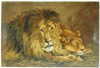 M.E. Green Impressionist O/C Lion Lioness Painting