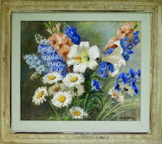Mae Bennett Brown Floral Still Life Painting
