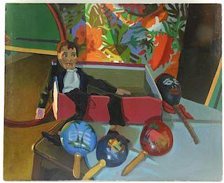 Richard Sheehan O/C Attic Interior Guitar Painting