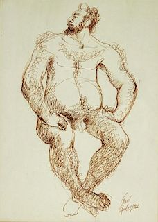 MCM Modernist Sepia Pen Drawing of Male Nude