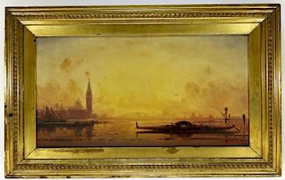 Henri LeRoy Illuminated Venetian Coastal Painting