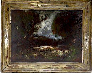 American Romanticist Moonlit Landscape Painting