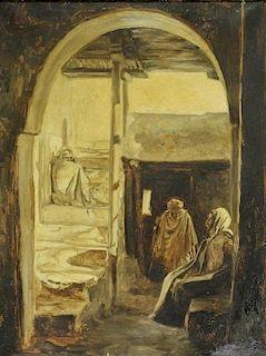European Orientalist Tonalist Genre Painting