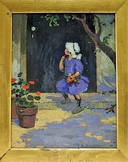 American Impressionist O/B Painting of Young Girl