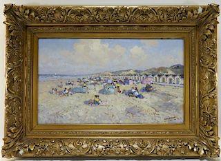 Willem Heytmann Summer Day Beach Cabanas Painting