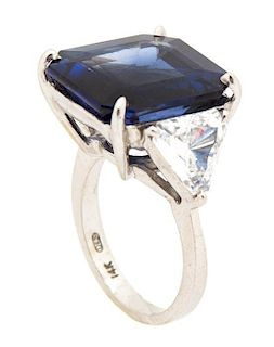 A 14K White Gold Faux Sapphire and Cubic Zirconia Ring