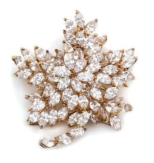A Goldtone and Marquis Cubic Zirconia Floral Brooch Height 1 3/4 inches.