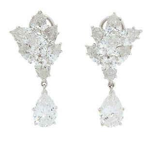 A Pair of Marquise Cubic Zirconia Cluster Earring with a Pear Cubic Zirconia Drop Length 1 1/4 inches.