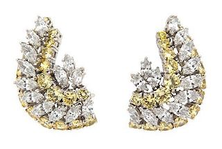 A Pair of Marquise Cubic Zirconia and Yellow Stone Earrings Height 1 1/4 inches.