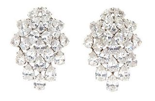 A Pair of Silvertone and Pear-Shape Cubic Zirconia Cluster Earrings with Pendant Drops Length 1 3/4 inches.