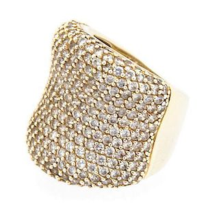 A Sterling Silver and Cubic Zirconia Pave Ring