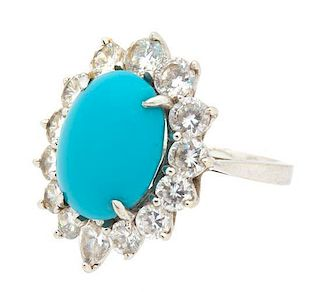 A 14K White Gold,Turquoise and Cubic Zirconia Ring