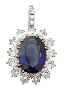 A Faux Sapphire and Marquise Cubic Zirconia Pendant Height 2 1/2 inches.