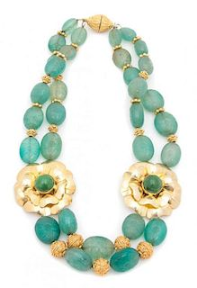 A Two Strand Mexican Silver Vermeil Floral and Carved Green Hardstone Necklace Length 18 inches.