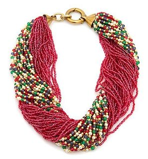 A Multi-strand Beaded Torsade Necklace Length 18 1/2 inches.